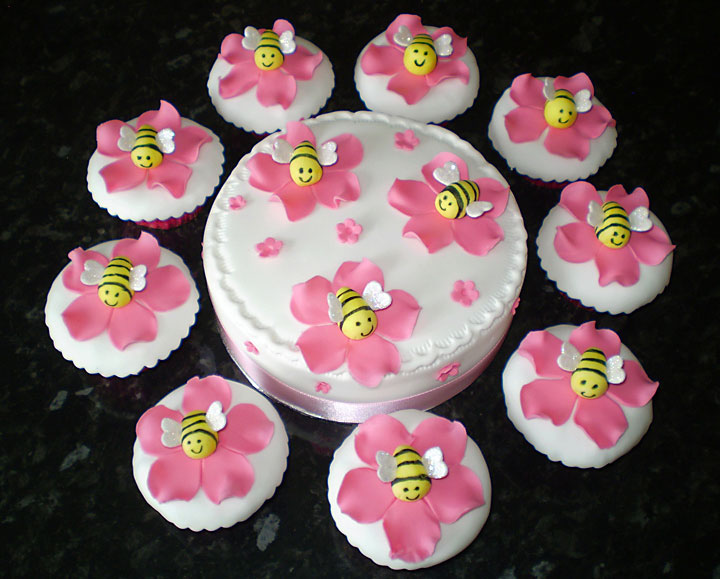 Honey Bees & Flowers, Celebration Cake and Cupcakes