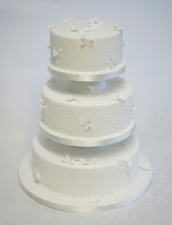 Cornelli & Butterflys Wedding Cake, 3 tier