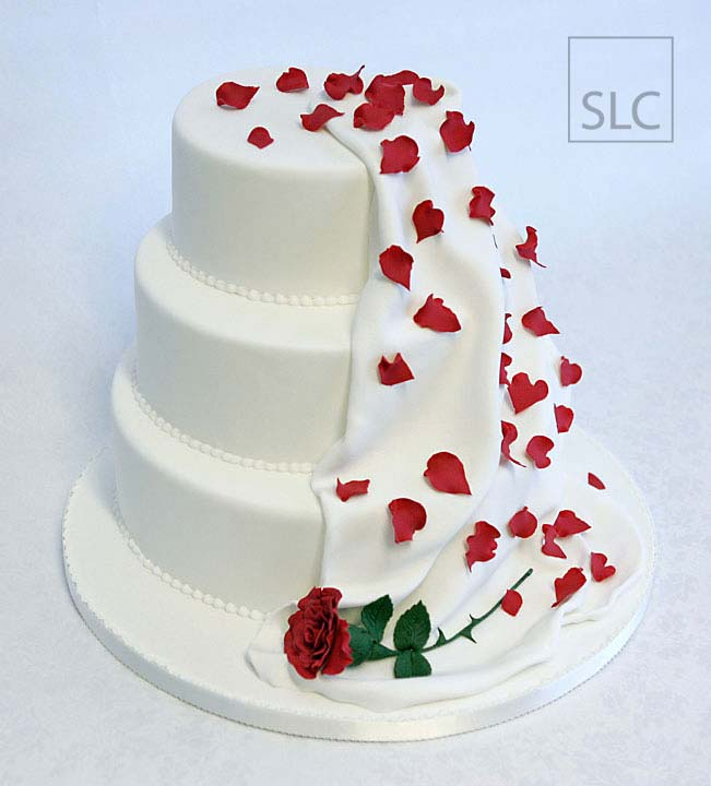 Sugar Crafted Rose with Sugar Petals & Drape, 3 tier Wedding Cake