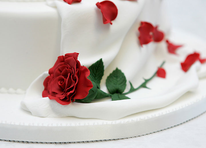 Red Rose Drape Wedding Cake Hand Made Sugar Crafted Flower Sugar Drape