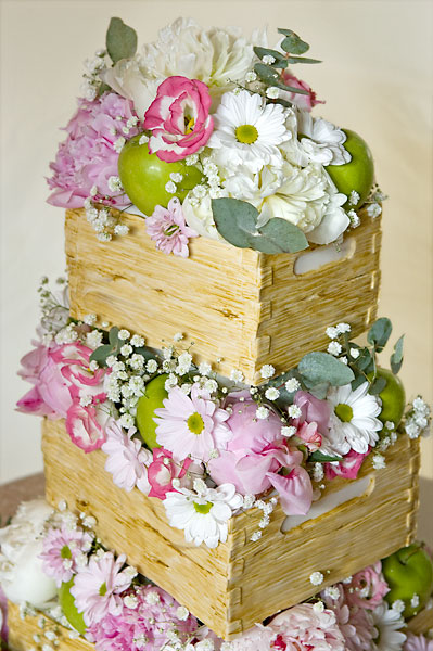 'Stack of Crates' Wedding Cake with an Abundance Fresh Flowers & Fruits.