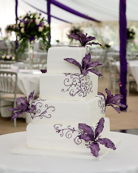 Four Tier White Iced with Purple Orchids
