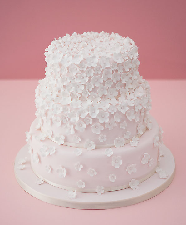 Tumbling Pink Cascading Blossom's on Wedding Cake