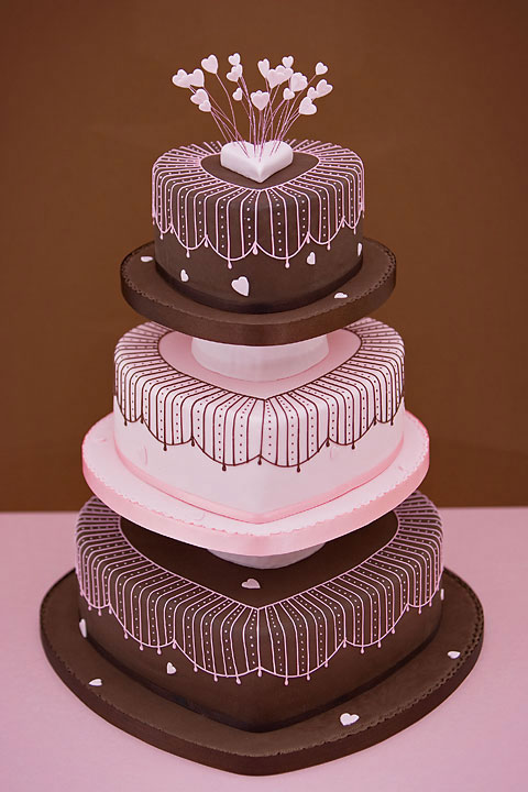 Strawberry Pink & Chocolate Hearts Wedding Cake