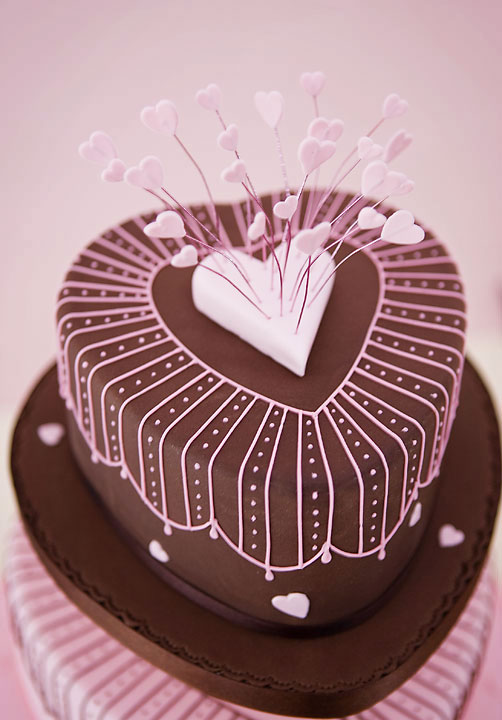 Pink & Chocolate Hearts Wedding Cake